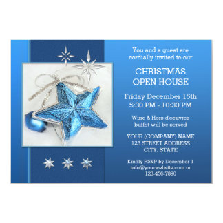Blue Christmas Open House or Party Invitation