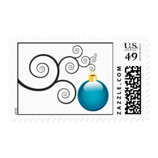 Blue Christmas Ornament Postage Stamps