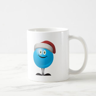 Blue christmas ornament wearing a red santa hat coffee mugs