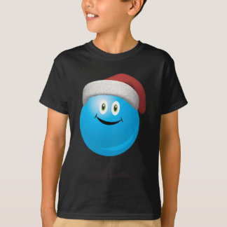 Blue christmas ornament wearing a red santa hat T-Shirt