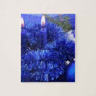 Blue christmas ornaments candles jigsaw puzzles
