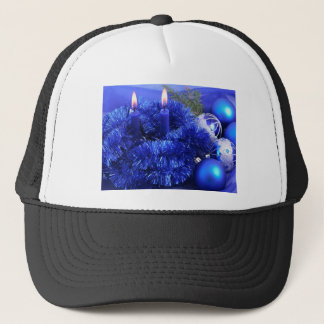 Blue christmas ornaments candles trucker hat