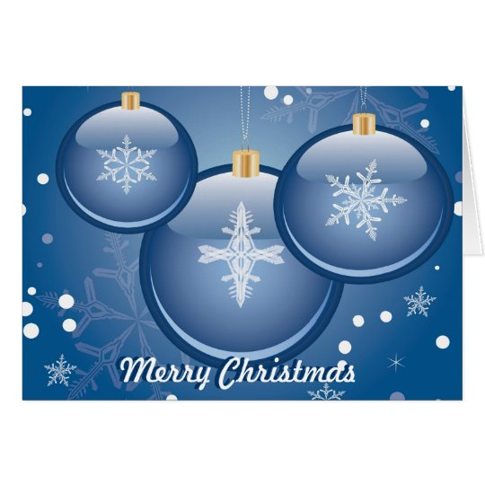 blue christmas ornaments card