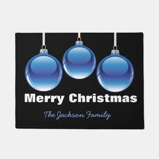 Blue Christmas Ornaments Doormat