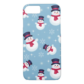 Blue Christmas Pattern With Snowmen And Snowflakes iPhone 7 Case