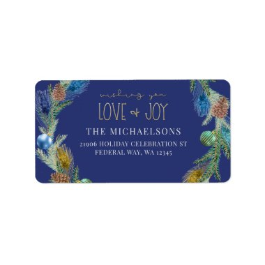 Blue Christmas Peacock Wreath Love   Joy Address Label