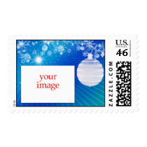 Blue Christmas photo template stamp