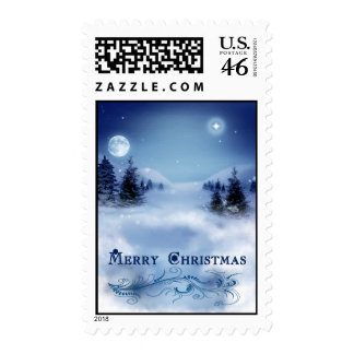 Blue Christmas Postage Stamps