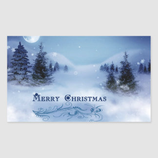 Blue Christmas Rectangular Sticker