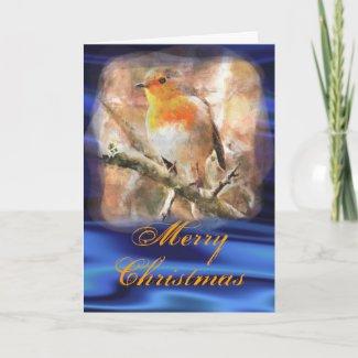 Blue Christmas Robin Card card