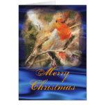 Blue Christmas Robin Card