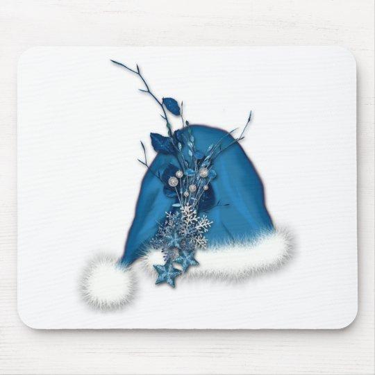 blue Christmas Santa hat Mouse Pad