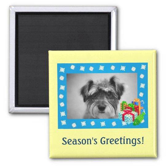 Blue Christmas Snow Photo Frame Magnet