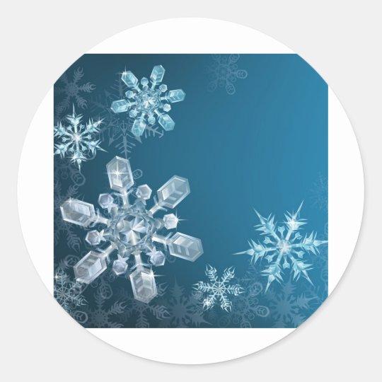 Blue Christmas snowflake background Classic Round Sticker