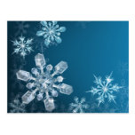Blue Christmas snowflake background Post Card