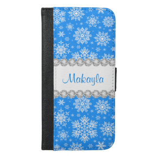 Blue Christmas Snowflake iPhone 6 Plus Wallet Case