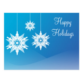 Blue Christmas Snowflake Ornament Postcards