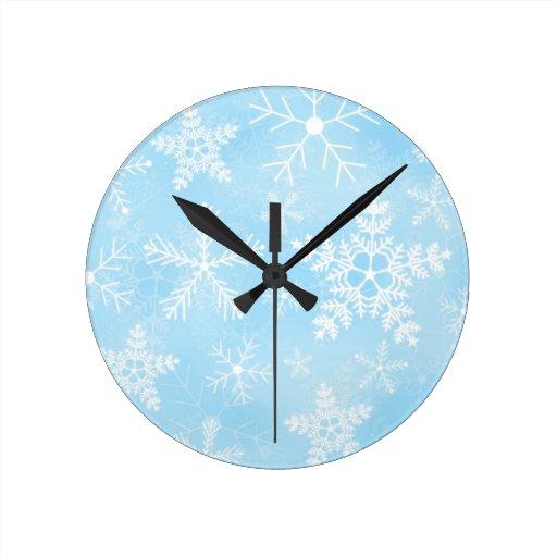 Blue Christmas Snowflake Pattern Round Clock