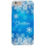 Blue Christmas Snowflakes iPhone Plus 6 Case Barely There iPhone 6 Plus Case