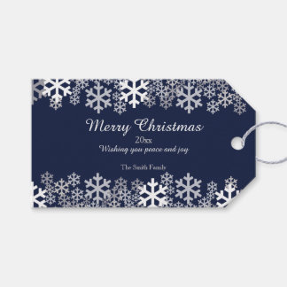 Blue Christmas Snowflakes Pattern Greetings Pack Of Gift Tags
