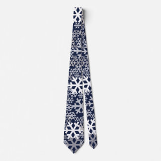 Blue Christmas Snowflakes Pattern Tie
