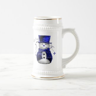 Blue Christmas Snowman Beer Stein