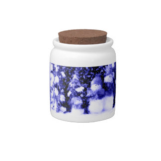 Blue Christmas Snowman Family Candy Jars