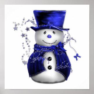 Blue Christmas Snowman Poster