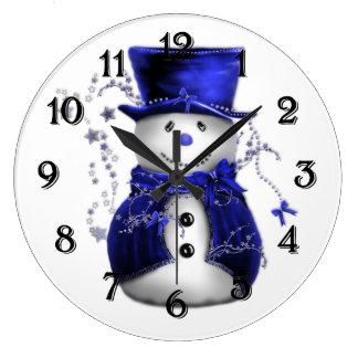 Blue Christmas Snowman Wall Clock
