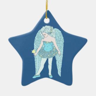 Blue Christmas Star Double-Sided Star Ceramic Christmas Ornament