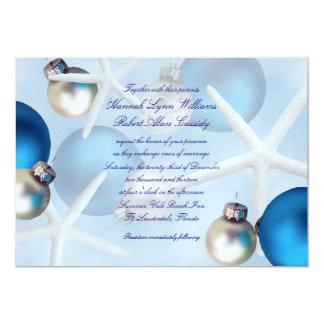Blue Christmas Starfish Beach Wedding Invitation