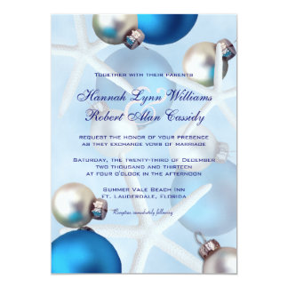 Blue Christmas Starfish Tropical Wedding Invite