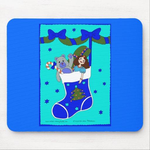 Blue Christmas Stocking Mouse Pad