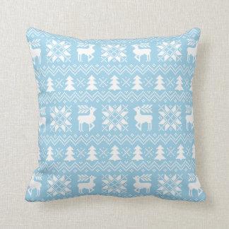 Blue Christmas Sweater Reindeer Poinsettias Design Throw Pillow
