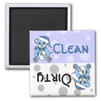 Blue Christmas Teddy Bear Clean Dirty Dishwasher 2 Inch Square Magnet