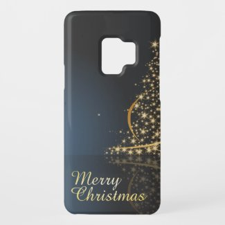 Blue Christmas Theme with golden Christmas Tree Case-Mate Samsung Galaxy S9 Case