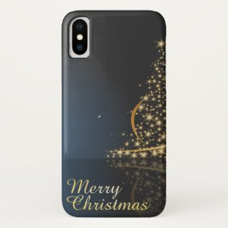 Blue Christmas Theme with golden Christmas Tree iPhone X Case