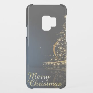 Blue Christmas Theme with golden Christmas Tree Uncommon Samsung Galaxy S9 Case