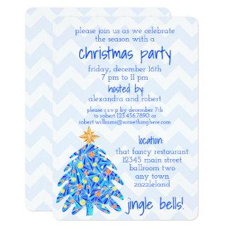 Blue Christmas Tree Chevron Modern And Nostalgia Card