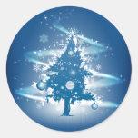 Blue Christmas Tree Christmas Classic Round Sticker