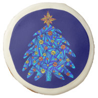 Blue Christmas Tree Colorful Abstract Holiday Sugar Cookie
