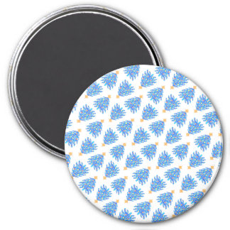 Blue Christmas Tree Colorful Holiday Pattern 3 Inch Round Magnet