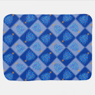 Blue Christmas Tree Colorful Holiday Pattern Receiving Blanket