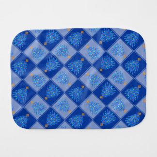 Blue Christmas Tree Colorful Holiday Pattern Burp Cloths