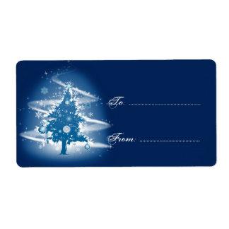 Blue Christmas Tree Fancy Elegant Decorations Tag