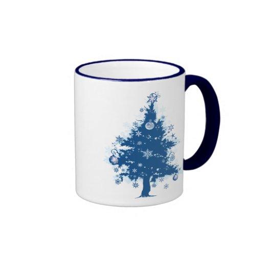 Blue Christmas Tree Gift Ringer Coffee Mug