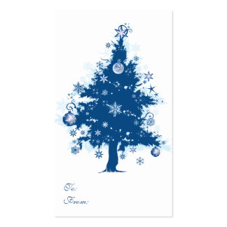 Blue Christmas Tree Gift Tag Double-Sided Standard Business Cards (Pack Of 100)