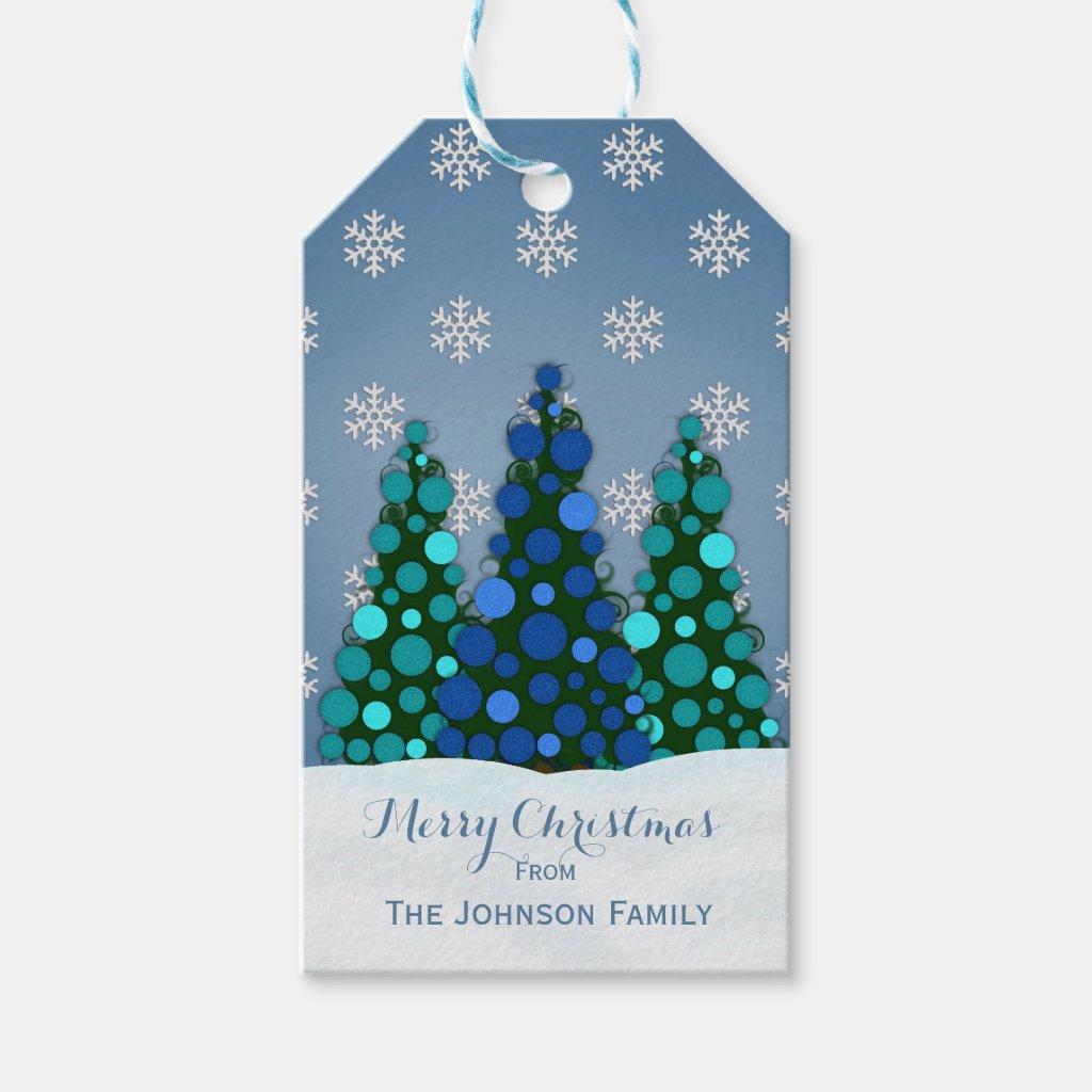 Blue Christmas Tree Gift Tags