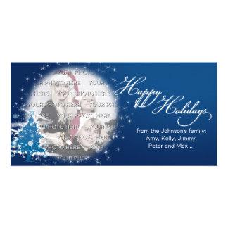 Blue Christmas Tree Happy Holidays Photo Card