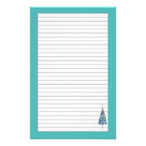 Blue Christmas Tree Holiday Gray Lined Stationery